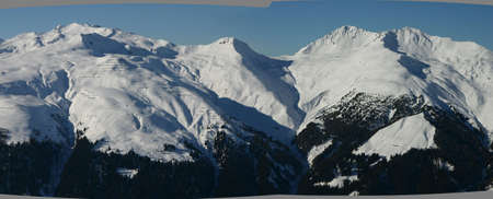 wintersport: A group of Swiss alps near Davos.
