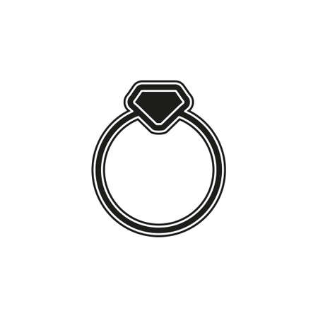 Vector diamond Ring - wedding or engagement illustration, diamond ring symbol. Flat pictogram - simple icon