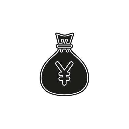 Yen money bag illustration - vector Yen symbol - money bag isolated. Flat pictogram - simple icon