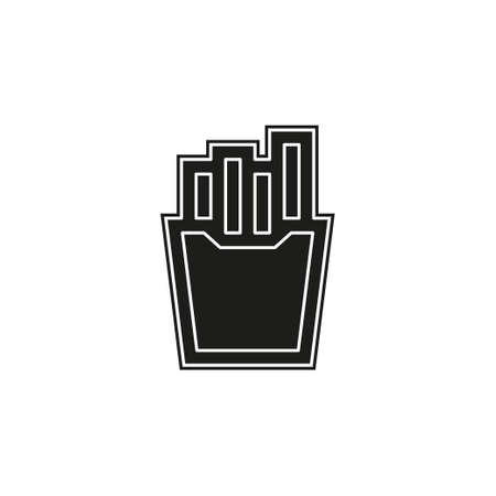 vector french fries box illustration isolated, snack meal. Flat pictogram - simple icon Illustration