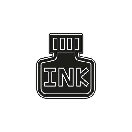 vector Ink bottle icon, calligraphy supplies for fountain pen. Flat pictogram - simple icon Ilustracja