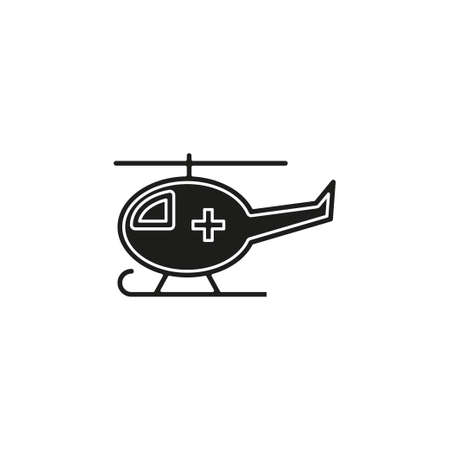 vector medical helicopter illustration, transport emergency - help icon. Flat pictogram - simple icon