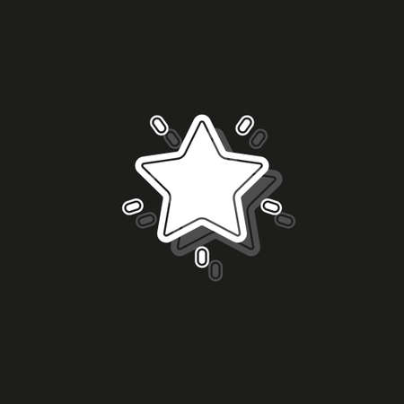 Simple Star. White flat pictogram on black - simple icon Illustration