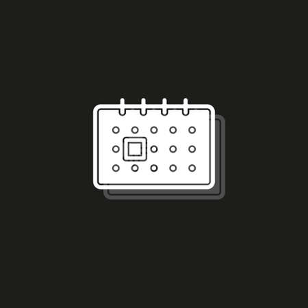 Simple Calendar. White flat pictogram on black - simple icon Illustration