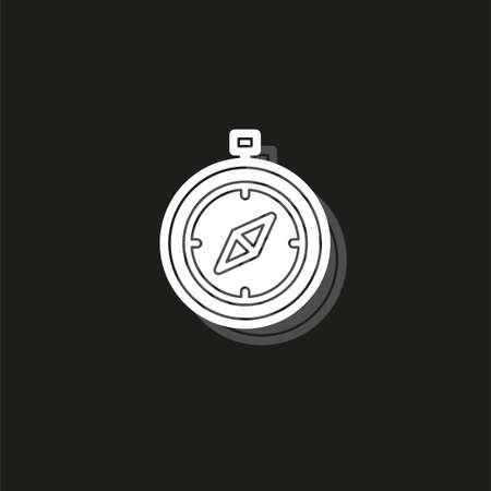 Simple Compass. White flat pictogram on black - simple icon