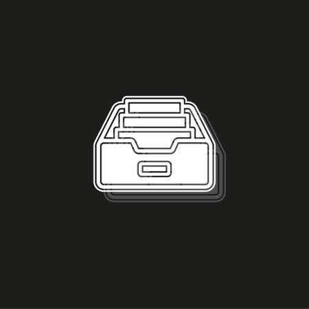 Simple Folder Archive. White flat pictogram on black - simple icon