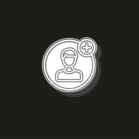 Simple Add Friend. White flat pictogram on black - simple icon