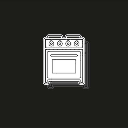 stove oven icon, vector gas stove, kitchen cooking appliance. White flat pictogram on black - simple icon Illusztráció