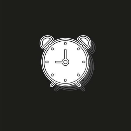 Clock icon - Clock symbol, vector alarm - Clock alarm isolated. White flat pictogram on black - simple icon Stock Vector - 124954410
