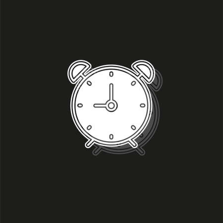 Clock icon - Clock symbol, vector alarm - Clock alarm isolated. White flat pictogram on black - simple icon