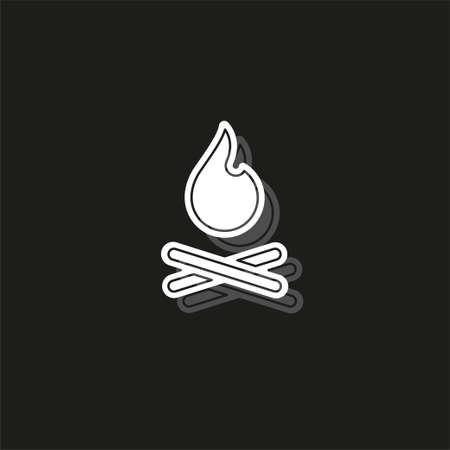 vector fire flames sign illustration isolated - fire icon, bonfire. White flat pictogram on black - simple icon