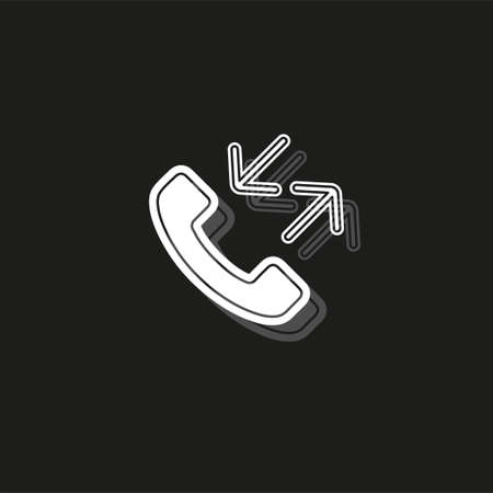 Phone sign icon- Call center, communication icon - Phone cell symbol. White flat pictogram on black - simple icon