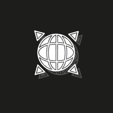 vector global gps icon - navigation illustration, travel symbol isolated. White flat pictogram on black - simple icon  イラスト・ベクター素材