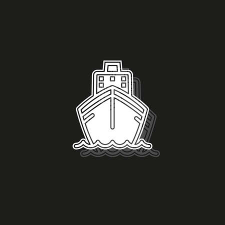 Ship icon. Cruise, tour, delivery concept, Marine boat. Transportation sign Isolated on white background. White flat pictogram on black - simple icon Illustration