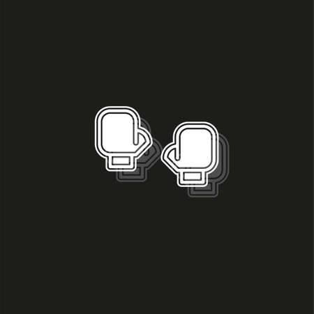 vector boxing gloves, boxing icon, punch symbol, fight. White flat pictogram on black - simple icon Illustration