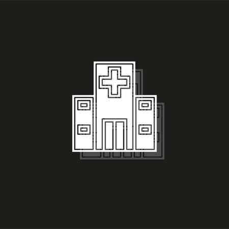 vector hospital building illustration - medical care symbol. White flat pictogram on black - simple icon