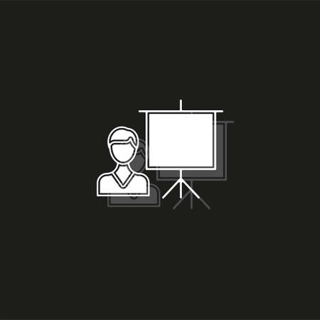 conference presentation illustration - business conference, people seminar - communication. White flat pictogram on black - simple icon