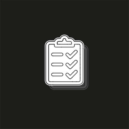 clipboard icon - vector check list, checklist form illustration, survey icon. White flat pictogram on black - simple icon