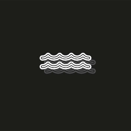 vector Water wave, river Water illustration - nature element, ocean or sea symbol. White flat pictogram on black - simple icon