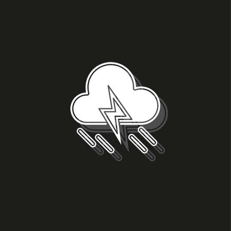 weather storm illustration, sun rain symbol - weather storm icon. White flat pictogram on black - simple icon Ilustração