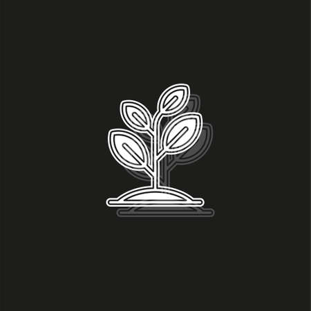 Seedling icon vector, growing tree, green agriculture. White flat pictogram on black - simple icon