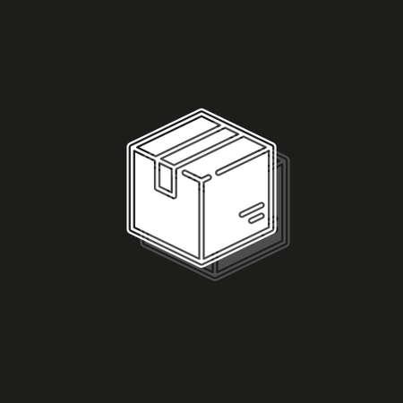 shipping box icon, vector shipping box, storage symbol, vector cardboard. White flat pictogram on black - simple icon Ilustração