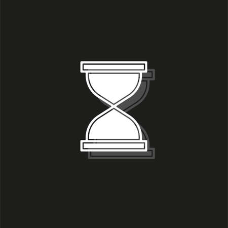 Hourglass icon, sand time clock. White flat pictogram on black - simple icon