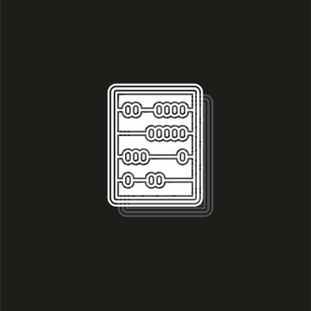 vector abacus icon, school and education icon. White flat pictogram on black - simple icon Ilustração