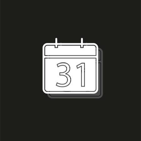 31 day Calendar icon. vector month calender symbol - event reminder. White flat pictogram on black - simple icon