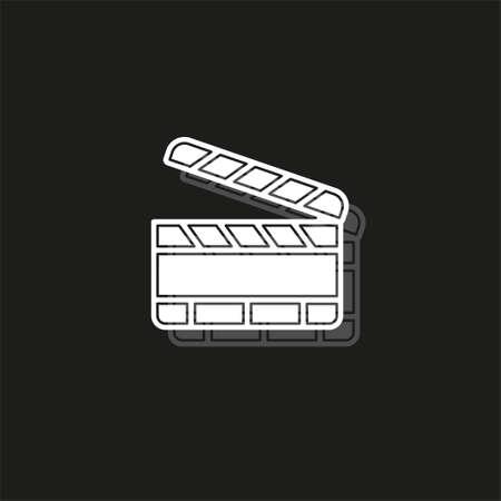 film slate - vector clip play button icon - movie media symbol - start watch or play video. White flat pictogram on black - simple icon Ilustração