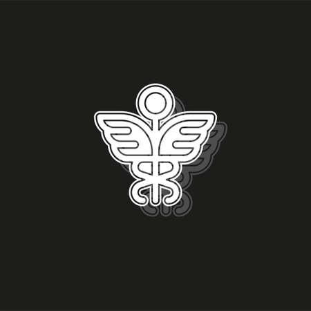 medical symbol - caduceus icon - health sign - pharmacy illustration. White flat pictogram on black - simple icon