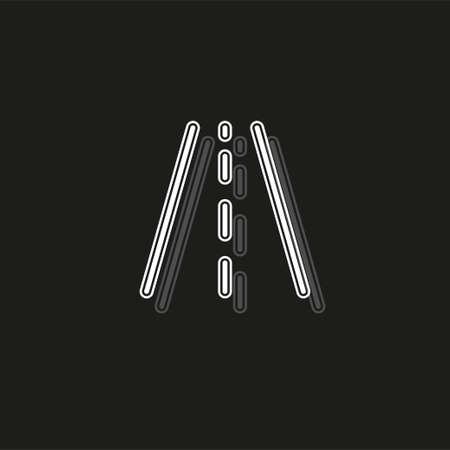 vector highway road, street sign - traffic abstract symbol. White flat pictogram on black - simple icon