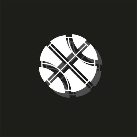 vector Basket ball - vector basketball isolated, sport symbol - play game. White flat pictogram on black - simple icon