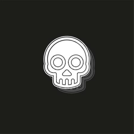 danger skull icon, vector skull crossbones symbol - danger sign. White flat pictogram on black - simple icon Ilustração