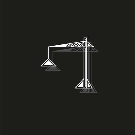 crane icon - vector construction crane, building construction symbol. White flat pictogram on black - simple icon