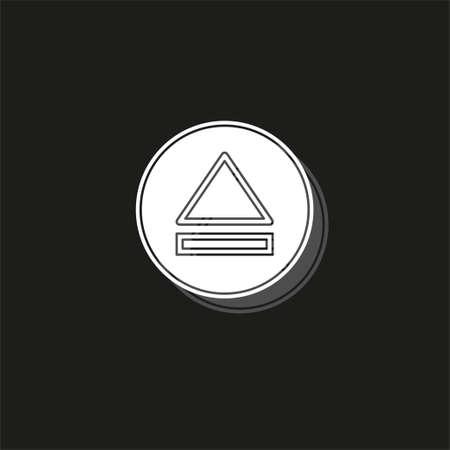 vector eject button icon - media symbol - eject music or play video. White flat pictogram on black - simple icon