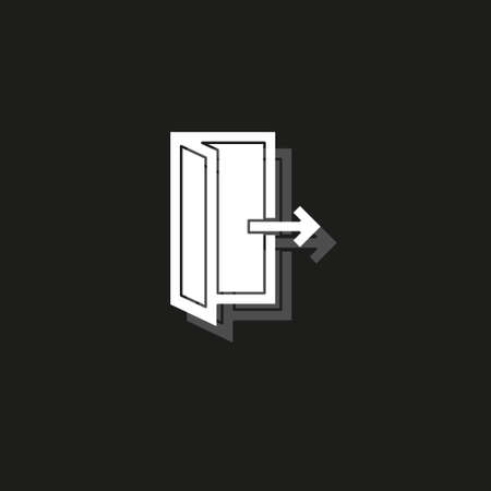 emergency exit sign, exit door icon, exit strategy - door entrance. White flat pictogram on black - simple icon