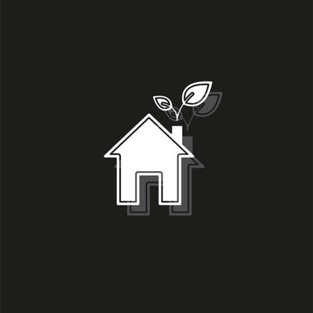 Green house and leaves, eco icon, alternative energy, green environment. White flat pictogram on black - simple icon Illustration