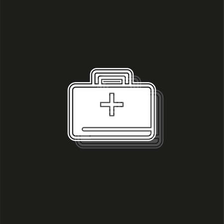 medical kit - vector doctor case illustration, health care - medical case. White flat pictogram on black - simple icon