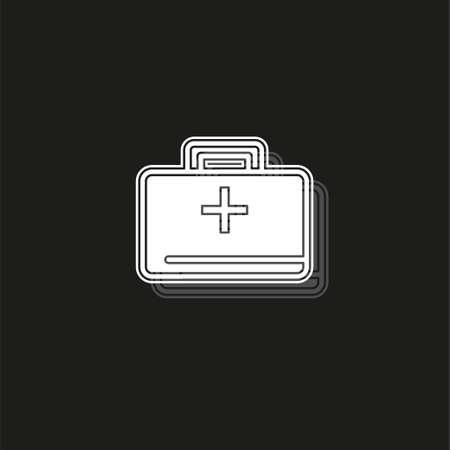 medical kit - vector doctor case illustration, health care - medical case. White flat pictogram on black - simple icon Reklamní fotografie - 124729092