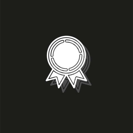 medal prize icon - vector award medal, first place illustration - winner sign. White flat pictogram on black - simple icon Reklamní fotografie - 124729094