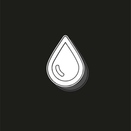 vector rain drop illustration - raindrop symbol isolated - nature element. White flat pictogram on black - simple icon