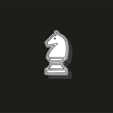 vector Chess game horse illustration - chess game, strategy. White flat pictogram on black - simple icon