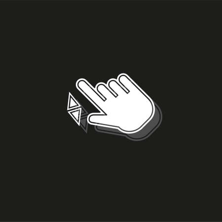 Double tap finger - pointer icon - vector cursor symbol, touch symbol - mouse sign - scroll. White flat pictogram on black - simple icon