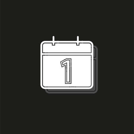 vector calendar day icon, day symbol, event icon. White flat pictogram on black - simple icon