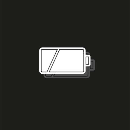 vector Battery low charging - power Battery illustration, electricity symbol - energy sign. White flat pictogram on black - simple icon Stock Illustratie