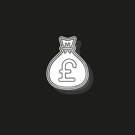 English pound money bag illustration - vector English pound symbol - money bag isolated. White flat pictogram on black - simple icon