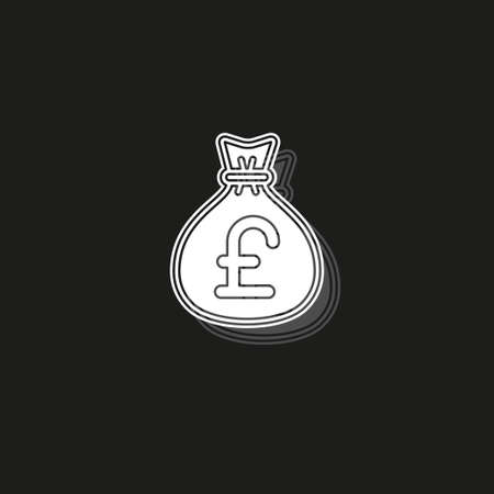 English pound money bag illustration - vector English pound symbol - money bag isolated. White flat pictogram on black - simple icon