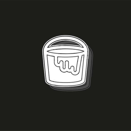 vector painting bucket illustration isolated, painting work, painting sign and symbol. White flat pictogram on black - simple icon