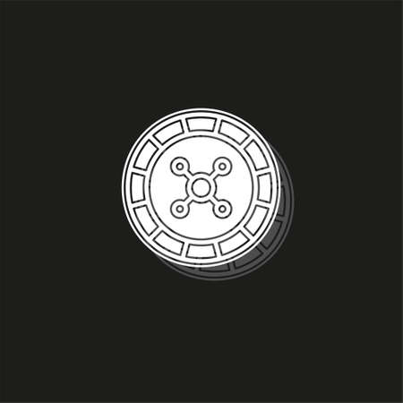 Casino game icon, gambling illustration - vector roulette, roulette machine. White flat pictogram on black - simple icon
